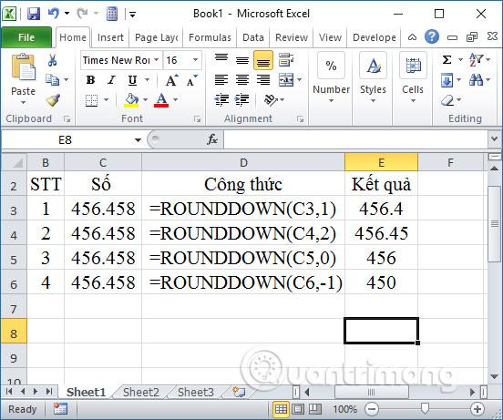 Cách làm tròn số trong Excel