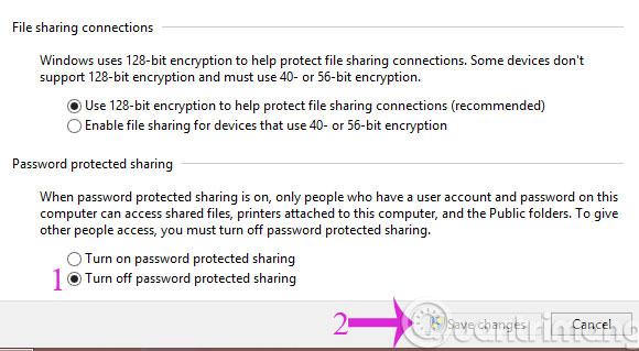 Check tùy chọn Turn off password ...