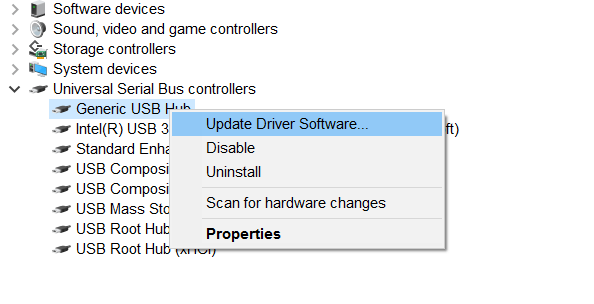 chọn Update Driver Software