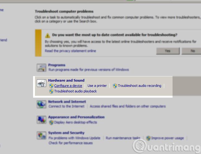 Xử lý bằng Troubleshoot computer problems
