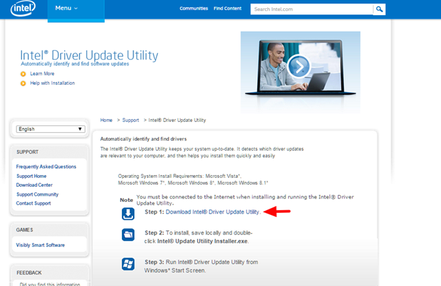 Tải Intel Driver Update Utility.
