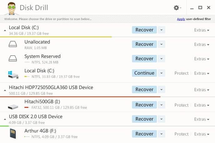 Phần mềm hiện file ẩn trên USB Disk Drill