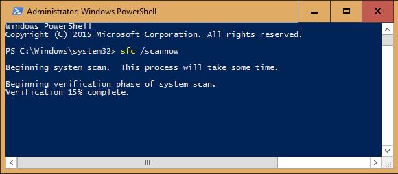 Trong cửa sổ chạy Powershell, gõ sfc /scannow và nhấn Enter