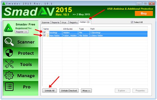 Hiển thị các file ẩn bằng cách sử dụng Smadav Antivirus