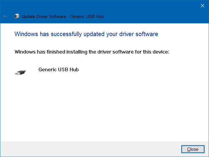 """thông báo """"Windows has successfully updated your driver software"""""""