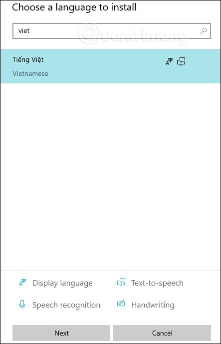 Chọn tiếng Việt