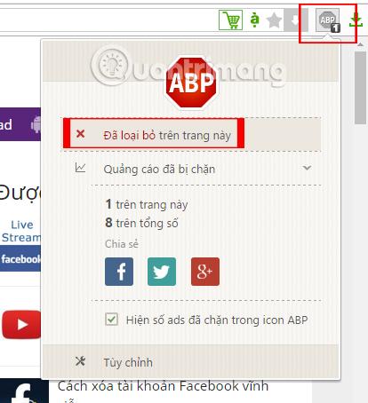 Tắt Adblock Plus trên Cốc Cốc
