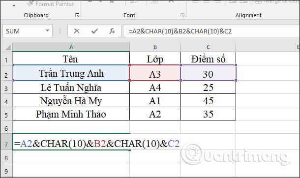 Xuống dòng với hàm CHAR(10)