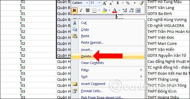 Xóa cột Excel