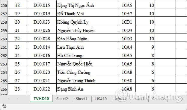 Sắp xếp sheet Excel