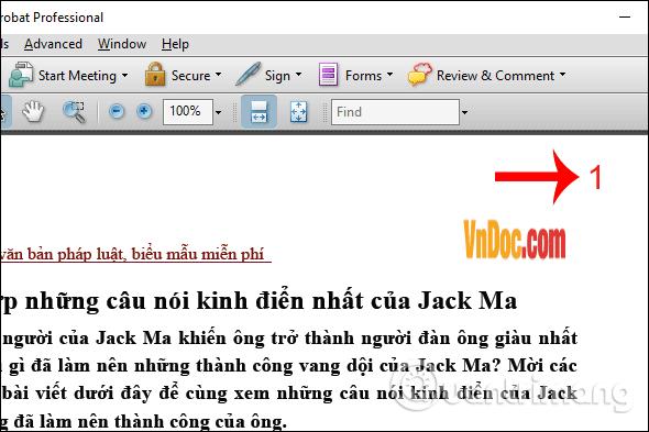 Hiện số trang PDF