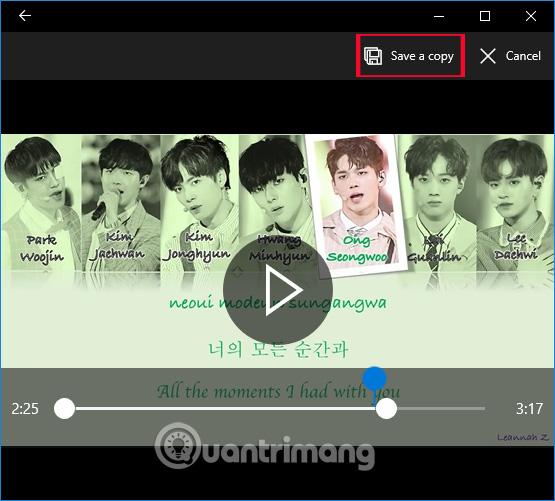 Lưu đoạn video đã chọn