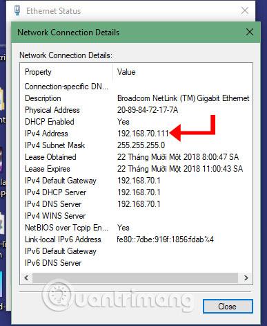 Cửa sổ Network Connection Details