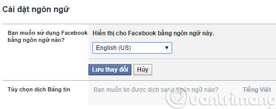 Đổi sang ngôn ngữ tiếng Anh