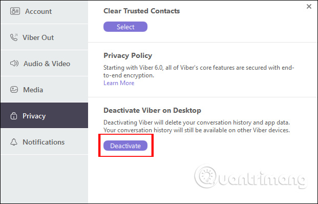 Xóa tài khoản Viber PC