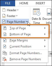 Chọn vị trí chèn số trang