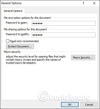 Tạo mật khẩu mở file Word