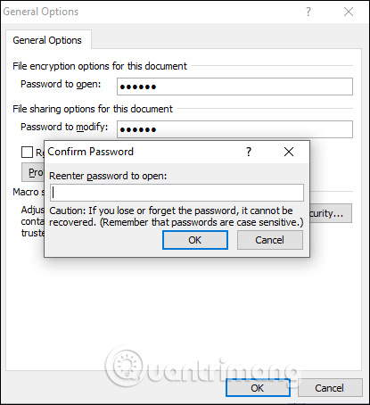 Xác nhận mật khẩu mở file