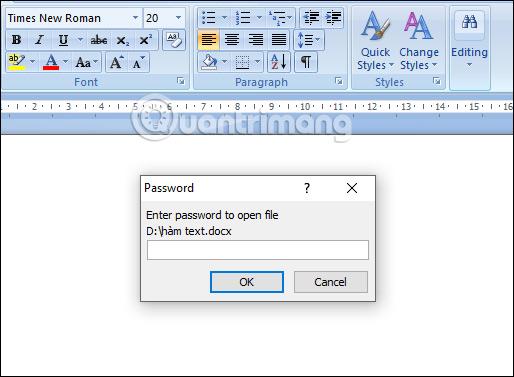 Yêu cầu mật khẩu mở file
