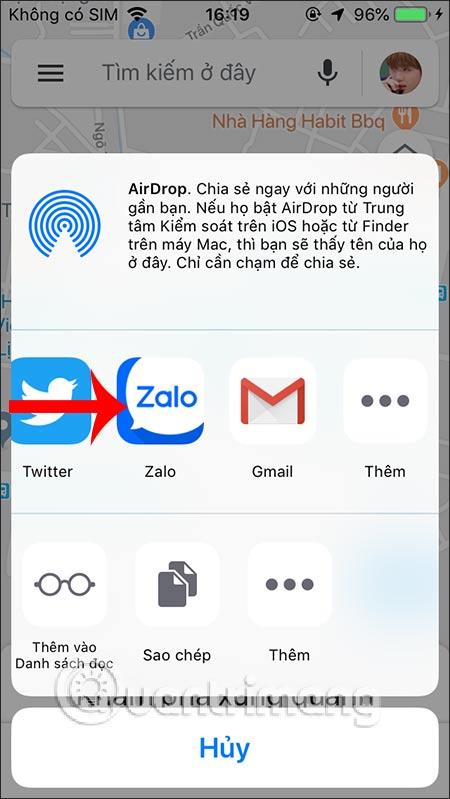 Chọn ứng dụng Zalo