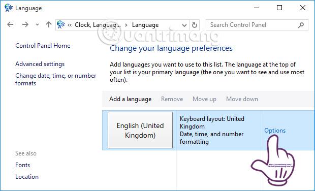 Nhấn chọn Options tại kiểu gõ bàn phím UK