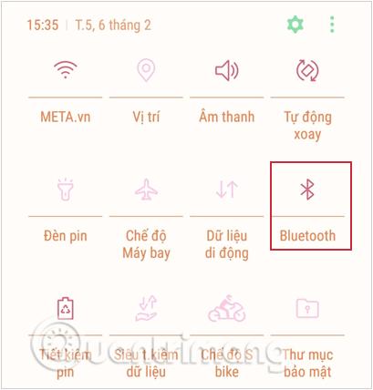 Bật Bluetooth từ trung tâm thông báo