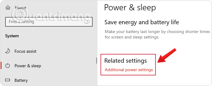 Chọn Additional Power Settings để mở Power Options Windows 10