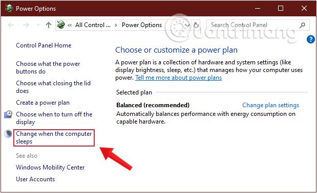 Chọn Change when the computer sleeps để thay đổi chế độ Sleep Windows 10