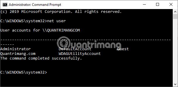 Nhập lệnh net user để xem các user trên máy