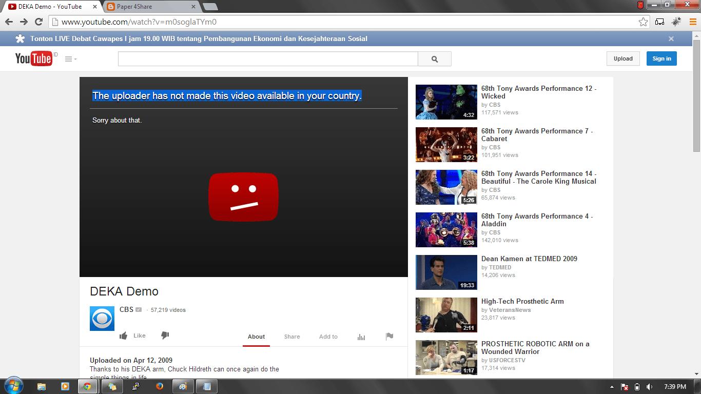 Thông báo video đã bị chặn ở quốc gia của bạn