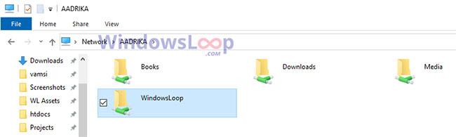 Có thể truy cập thư mục đó từ bảng điều khiển Network trong File Explorer