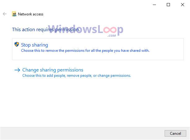 Nhấp vào tùy chọn Stop sharing
