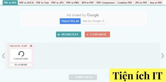 Cách chuyển đổi pdf sang word