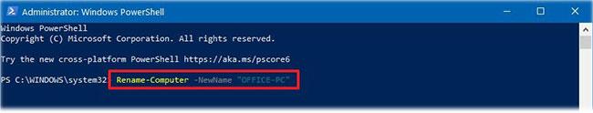 Nhập lệnh trên để hiển thị tên PC hiện tại và nhấn Enter