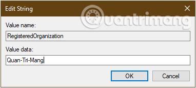 Đổi tên mới cho máy tính win 10 trong khóa Registered Organization