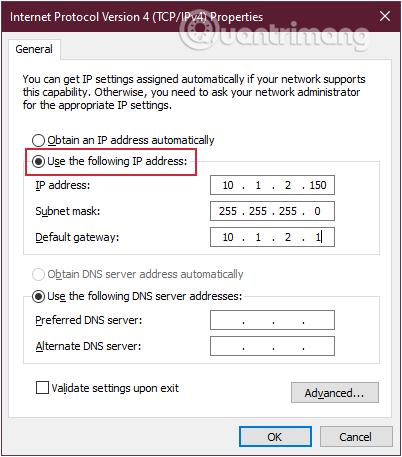 Thay đổi địa chỉ IP