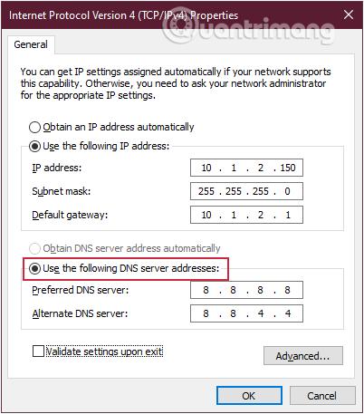 Thay đổi địa chỉ DNS