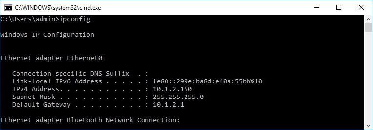 Nhập ipconfig vào Command Prompt