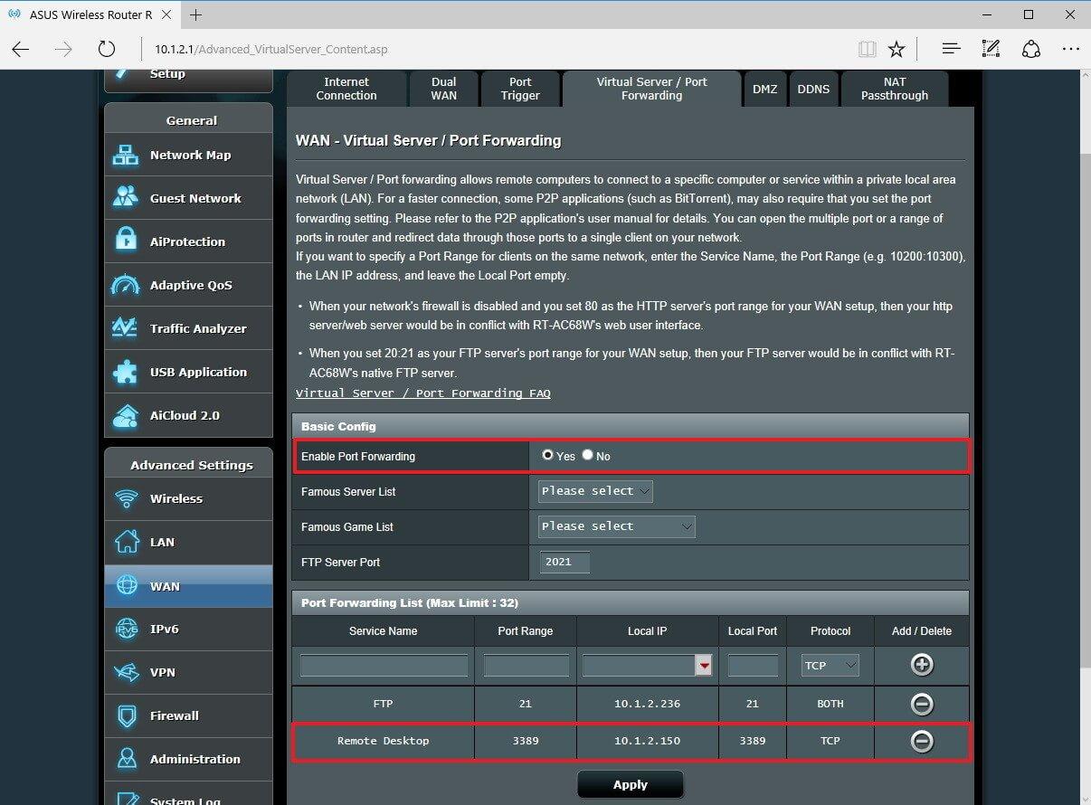 Thêm thông tin vào phần port forwarding
