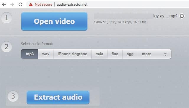 Công cụ trực tuyến Audio Extractor