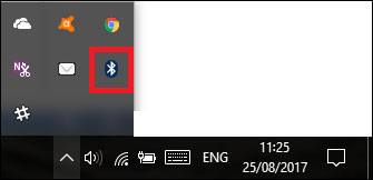 Biểu tượng trên thanh tác vụ cho biết Bluetooth đã được bật