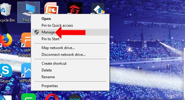 Nhấn chọn Manage