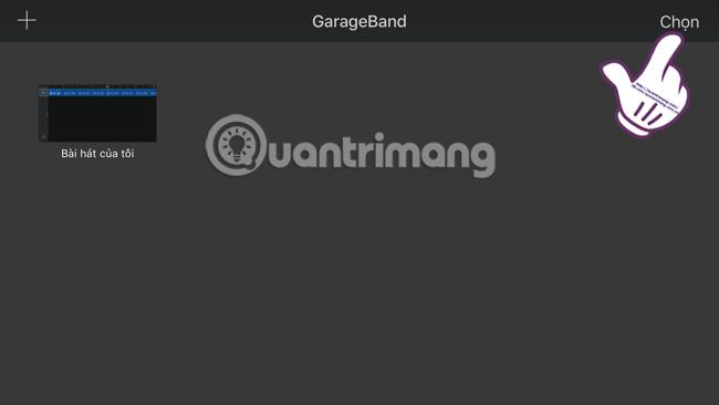 Nhấn chọn bài hát trên GarageBand