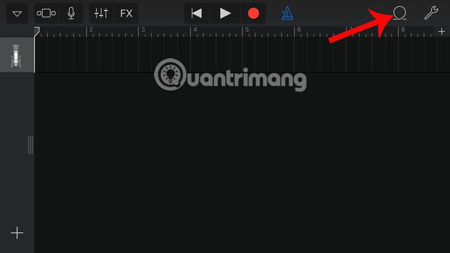 Nhấn chọn thẻ Music trên GarageBand