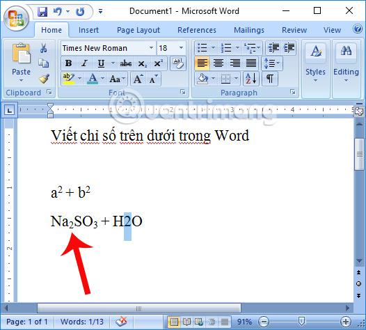 Tạo chỉ số dưới trong mục Font
