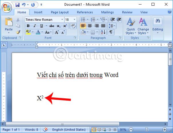 Tạo chỉ số trên trong Word