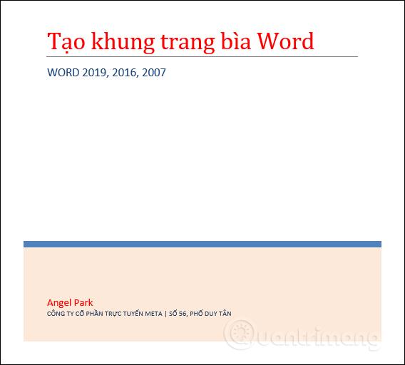 Cách tạo khung viền trang bìa trong Word