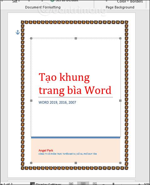 Viền bìa Word có họa tiết