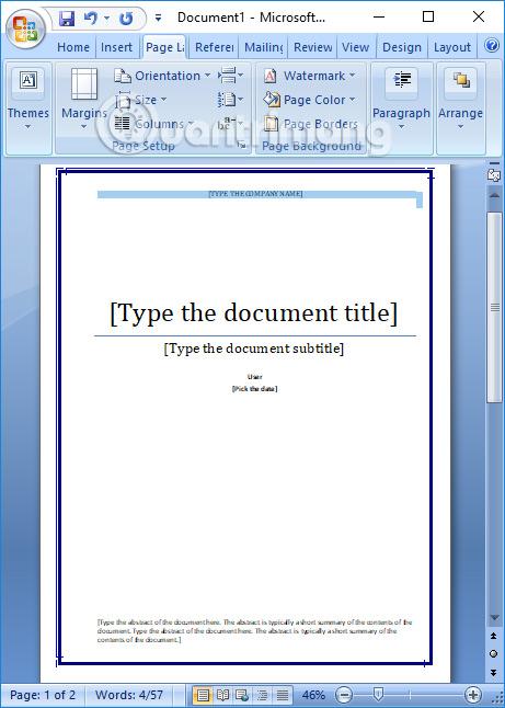 Tạo khung viền cho bìa sổ Word