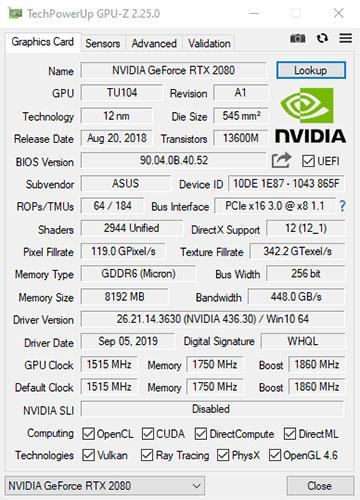 Bạn cũng có thể dùng GPU-Z từ TechPowerUp thay thế